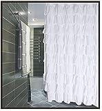 Ruffled White Fabric Shower Curtain