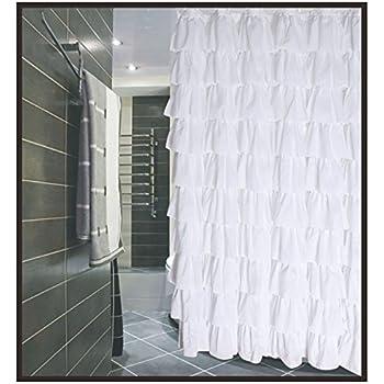 Amazoncom Ruffled White Fabric Shower Curtain Home Kitchen