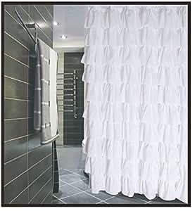 Con volantes de tela blanca cortina de ducha hogar - Volantes de cortinas ...