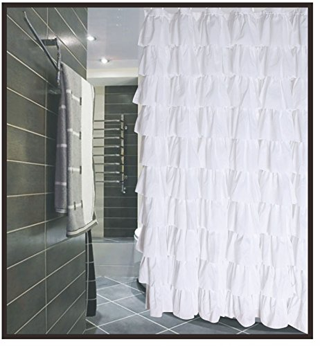 Buy volens white shower curtain fabric/ruffle for bathroom,72in long