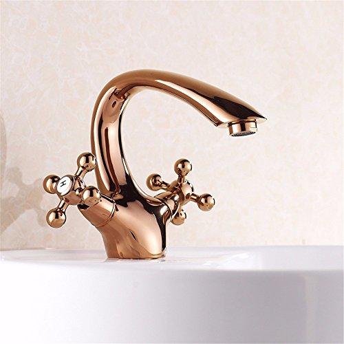 RY@ Widespread Bathroom Faucet /Lavatory Faucet/Brushed Nickel Bathroom Sink /Bathroom Vessel Faucet/ Bathroom Sink Faucet / Rose Gold Hot & Cold Water Single Hole Double Handle Ceramic Valve Rose Double Sink
