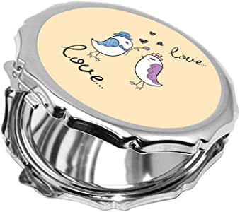 مرآة جيب، بتصميم رومانسي - طيور الحب، شكل دائري
