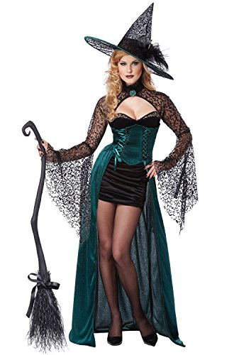 California Costumes Women's Enchantress Sexy Witch Long Dress Costume, Black/Green, X-Large -