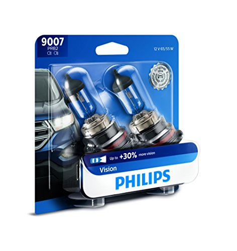 Headlamp Halogen Bulb (Philips 9007 Vision Upgrade Headlight Bulb with up to 30% More Vision, 2 Pack)