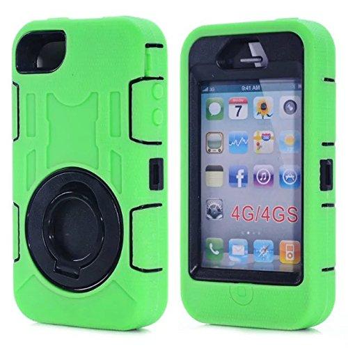 Iphone 4 Coque,Iphone 4S Coque,Lantier 3 en 1 en caoutchouc dur + Hybrid PC Combo rueobuste avec Annulaire Béquille Protect pour Apple Iphone 4/4S Vert