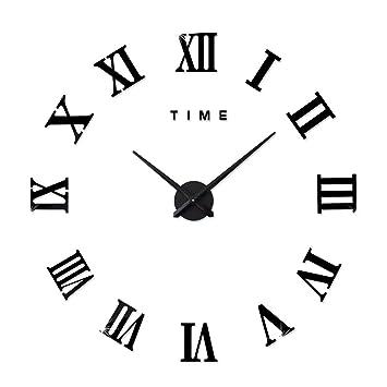 423a4f58507 FAS1 Moderne DIY Grand Pendule Murale Chiffres Romains Big Montre Stickers  3D Horloge Montre Murale Home