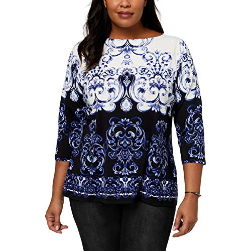 Charter Club Womens Plus Matte Jersey Printed Peasant Top Blue ()