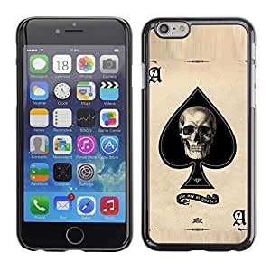 Mldierom Smartphone Protective Case Hard Shell Cover for Cellphone Iphone 6 Ace Spades Skull Black Poker Cards /