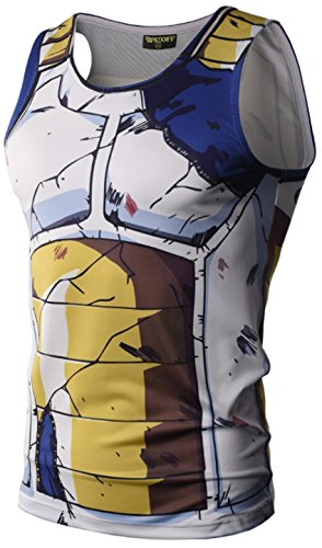 PIZOFF Mens Sleveless Quickly Dry 3D Cartoon Print Work Out Compression Tank Top Y1783-01-S