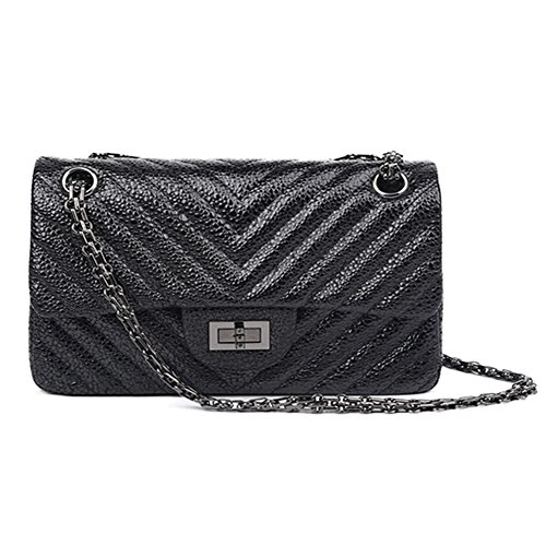 Ainifeel Women's Quilted Leather Shoulder Handbag With Chain Strap (Large, Black ()