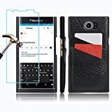 BlackBerry PRIV Wallet Case and Screen Protector, Gzerma Slim PU Leather [Card Holder Slot] with Inner Shock-Absorption PC Bumper Case Cover and High Definition (HD) Clear, Bubble Free Protectiove Film for BlackBerry Priv Smartphone, Black