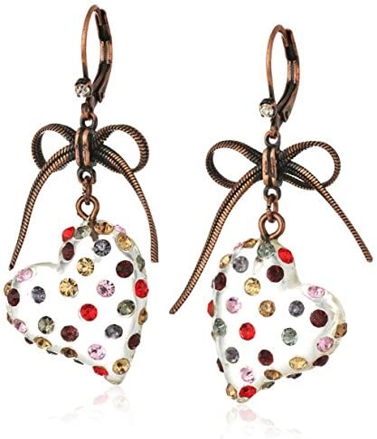 Betsey Johnson Multi Lucite Heart Drop Earrings