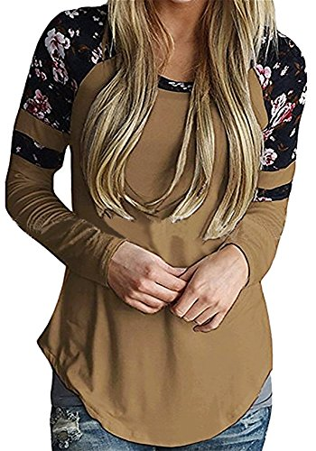 Ankosen Womens Casual Long Sleeve Slim Tunic Sweatshirt Floral Blouse T-Shirt Tops (S, Brown)