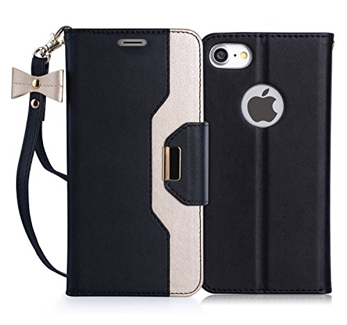 iPhone 8 Case, iPhone 7 Case, FYY [RFID Blocking wallet] [Makeup Mirror] Premium PU Leather iPhone 7/8 Wallet Case with Cosmetic Mirror and Bow-knot Strap Black+Gold