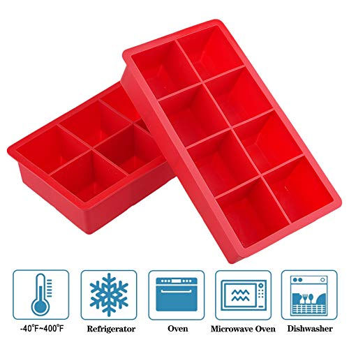 2 Pack Large Size Premium Ice Cube Trays, ONLYWEE Silicone Flexible 8 Cavity Ice Maker for Whiskey, Cocktails, Food, BPA Free, Keep Drinks Chilled, Reusable Safe Ice Mold (Red)
