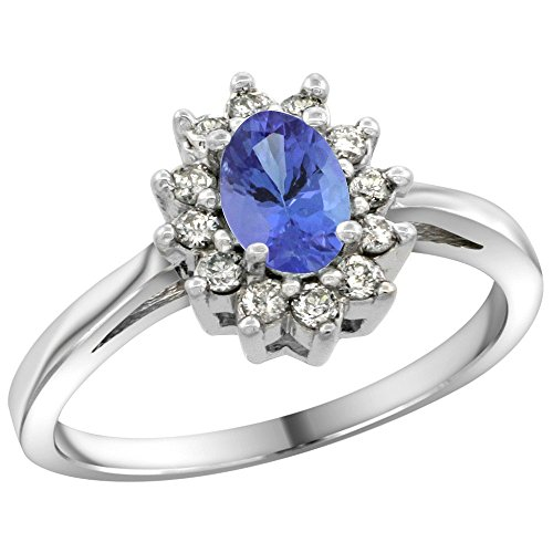 - Sterling Silver Natural Tanzanite Diamond Flower Halo Ring Oval 6X4mm, 3/8 inch wide, size 10