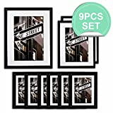 The Display Guys ~ 9 Piece Matte Black Solid Pine Wood Photo Frame Set, Six 5x7 Inch, Two 8x10 Inch, One 11x14 Inch, With White Core Mat Boards And Picture Collage Mat Boards, Luxury Made Affordable