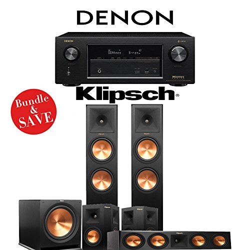 Klipsch RP-280F 5.1-Ch Reference Premiere Home Theater System with Denon AVR-X3400H 7.2-Channel 4K Network AV Receiver by Klipsch