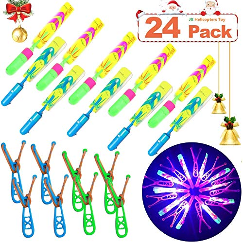 JX Rocket Helicopters 24 Piece with LED Lights for Kids,12 Slingshot Helicopters 12 LED Helicopters,Amazing Arrow Helicopter Glow in The Dark Party Supplies for Kids