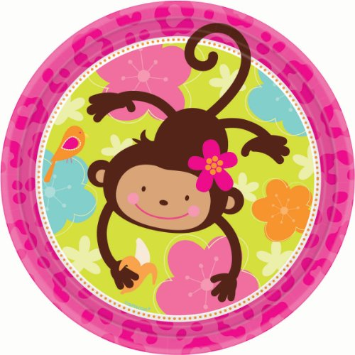 [Amscan Sweet Monkey Love Round Birthday Party Lunch Paper Plates Disposable Tableware (8 Pack), 9