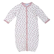 Newborn Organic Cotton Convertible Bunting to Romper Baby Infant Gown, Pink Dots, Multicolor, 6 Months Old