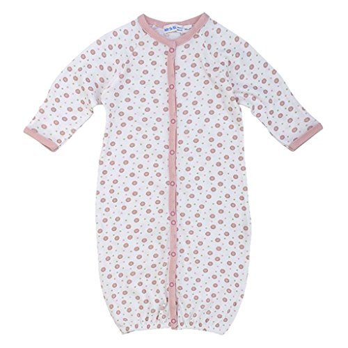 Under The Nile Cotton Romper (Newborn Organic Cotton Convertible Bunting to Romper Baby Infant Gown, Pink Dots, Multicolor, 6 Months)