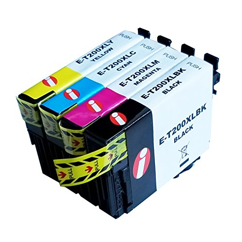 400 Ink - 4 Pack INK4WORK 200XL Remanufactured Ink Cartridge Replacement for Epson T200XL T200 XL Expression XP-410 XP-400 XP-310 XP-200, WorkForce WF-2520 WF-2530 WF-2540 (B/C/M/Y)