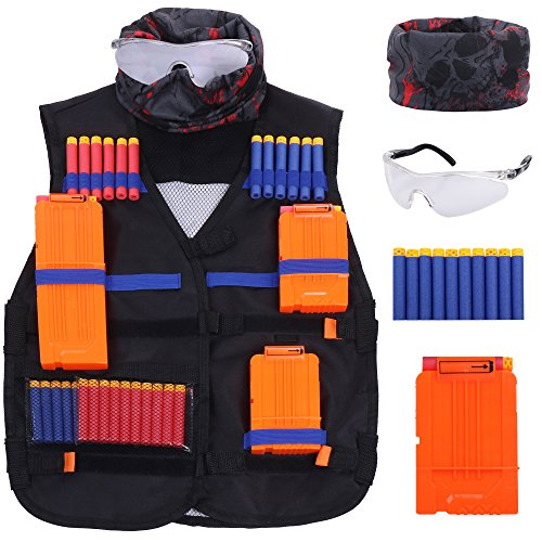Kids Tactical Vest Set: Nerf Gun Jacket For The Nerf N-Strike Elite Series | Comes With 3 Quick Reload Clips, Skeleton Mask, Protective Glasses, 2 Headbands & 40 Refill (Rnb Series)