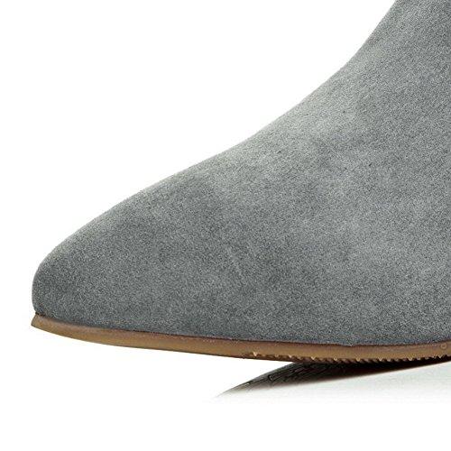 Amoonyfashion Kvinners Spisse Tå Lukket Tå Kitten Hæler Støvler Med Winkle Pinker Og Gummisåler Grå