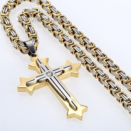 (Naomi-D 22 inch Mens Gold Silver Byzantine Box Stainless Steel Necklace Chain Cross Pendant (Size: 22