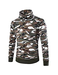 Cozy Age Men's Long Sleeve Camouflage High-neck T-shirts Shirts