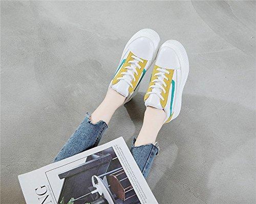 Zapatos Mujer De De Y De Cómodas Zapatos Blancos Principios Zapatillas Casuales 39 Fondo Cordones Con Invisible De A Exing Otoño Cuero Pequeños De Zapatos Gruesas De Nuevos Zapatos Deporte UOOEq