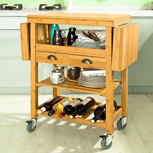 sobuy servierwagen aus hochwertigem bambus k chenwagen k chenregal rollwagen b65 95 125. Black Bedroom Furniture Sets. Home Design Ideas