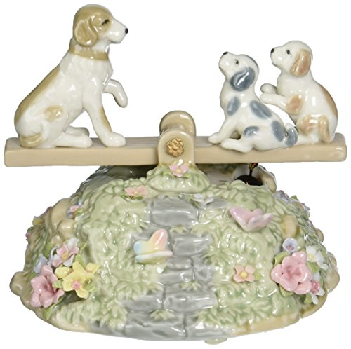 Cosmos SA49112 Fine Porcelain Puppies on Seesaw Musical Figurine, - Lamp Green Accent Bunny