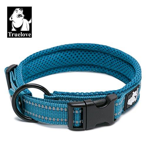TRUE LOVE Dog Collar Reflective Premium Duraflex Buckle,High Grade Nylon Webbing No Choke Basic Collars Truelove TLC5011(Blue,XL)