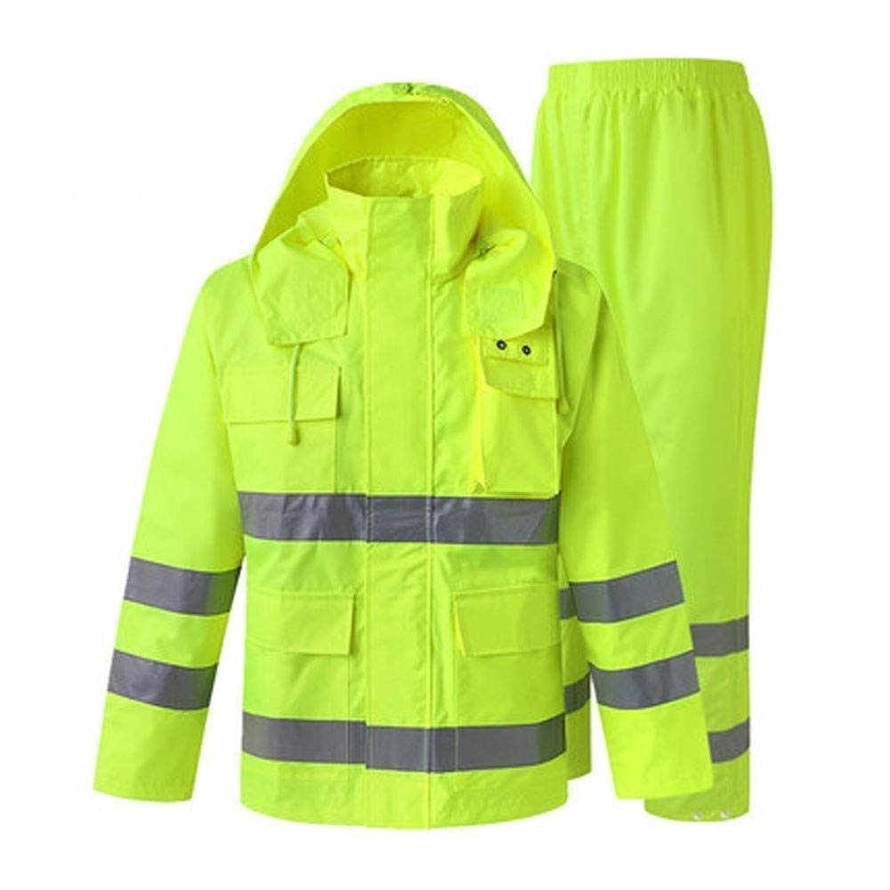 Reflective Raincoat Set, Reflective Safety Raincoat Traffic Construction Sanitation Split Raincoat Suit Male Adult Outdoor Riding Waterproof Poncho (Size : XXL)