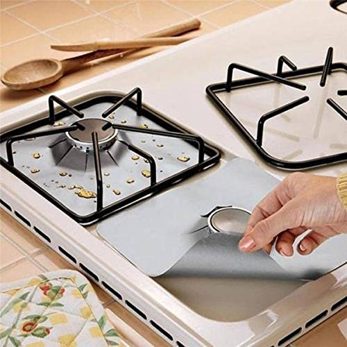4PCs Stove Protector - Non-Stick Gas Range Protectors - Stovetop Burner Protector Liner - Reusable Stove Covers - Cuttable Protectors for Gas Range Stove Burners - Dishwasher Safe, Easy to Clean (Floor Gas Range)