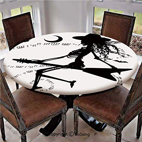 Elastic Edged Polyester Fitted Table Cover,Witch Flying on Electric Guitar Notes Bat Magical Halloween Artistic Illustration,Fits up 45