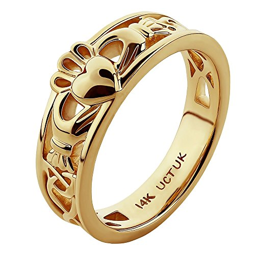 Yellow Gold Ladies Claddagh Ring (14K Yellow Gold ULG-6157Y Claddagh Ring - Size: 5.5)