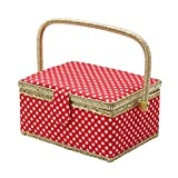 D&D Sewing Basket with Sewing Kit Accessories - Red Polka Dots