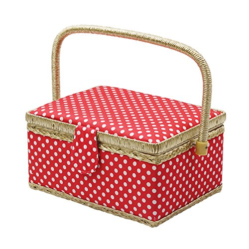 D&D Sewing Basket with Sewing Kit Accessories - Red Polka Dots (Polka Dots Tray White)
