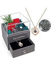 Forever Rose, PTN Eternal Rose met I Love You Ketting in 100 talen, echte Rose geschenkdoos, handgemaakte geconserveerde roos, romantische cadeaus voor haar op Valentijnsdag Moederdag