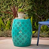 Exterior End Table, Side Table, Teal Color, Iron Material, Decor Complement And Decor Display, Durable And Sturdy, Attractive, Stylish, Elegant, For Outdoors, Backyard, Patio, Porch, Garden & E-Book.