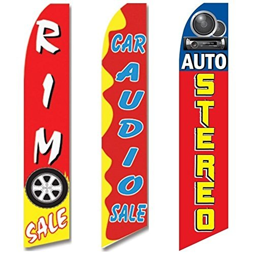 3 Swooper Flags Auto Stereo Rim Car Audio SALE Welcome Open Red & Yellow