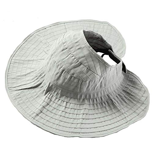 Women Wide Brim Visor Straw Hats Foldable Floppy Beach Sun UV Protection Caps Gray