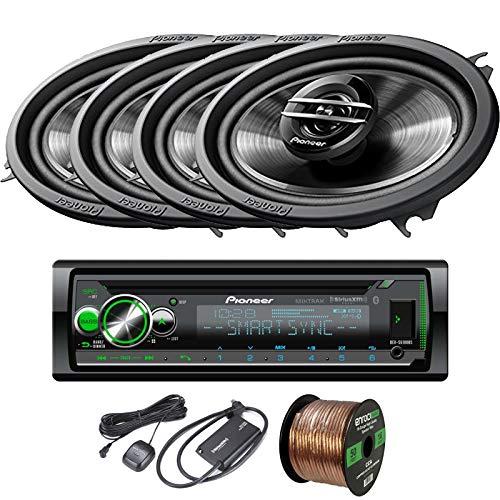 EnrockAudio Pioneer DEH-S6100BS CD/Bluetooth SiriusXM Ready Single-DIN Receiver, 4 x 4x6 2-Way Coaxial 200W Max Car Speakers, Speaker Wire, SiriusXM Satellite Radio Connect Vehicle Tuner Kit