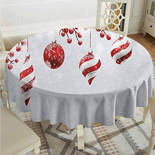 ScottDecor Overlay Round Tablecloth Christmas Traditional Design Icons Holly Berry Branches with Snow and Bokeh Effect Print Red White Printed Tablecloth Diameter 70