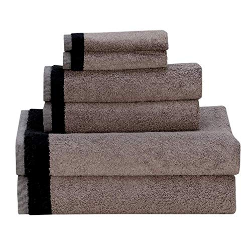 Premium 6 Piece Home Bath Towel Set, 2 Bath Towels, 2 Hand Towels and 2 Washcloths, Luxury Cotton Hotel & Spa Quality with Modern Design, Super Soft and Highly Absorbent Collection (Gray)