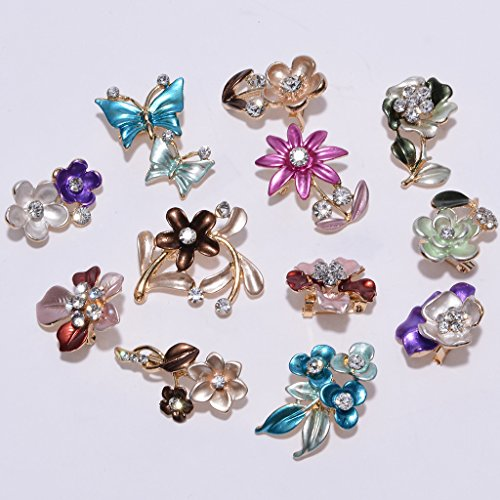 IPINK 12 Pcs Wholesale Lots Brooches Flower Floriated Brooch Pins Mixed Colors Design - Wholesale Fashion Brooches