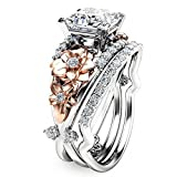 by lucky Gorgeous Women's 925 Silver White Sapphire Ring Set Gold Flower Wedding Jewelry (7)